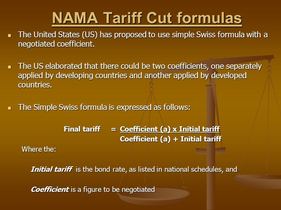 NAMA Tariff Cut formulas