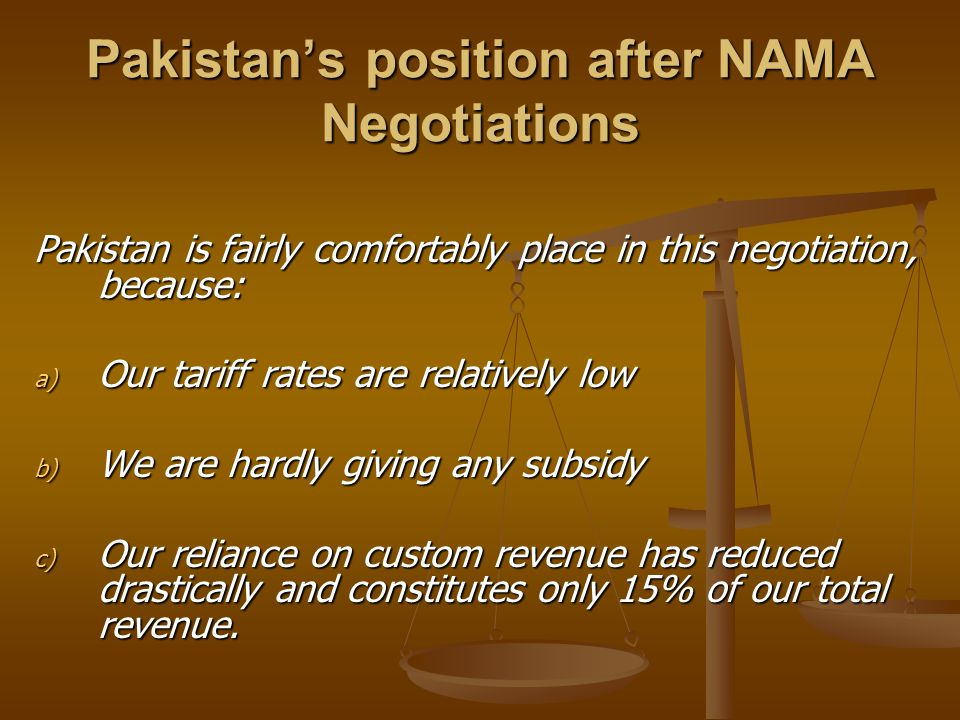 Pakistan's position after NAMA Negotiations