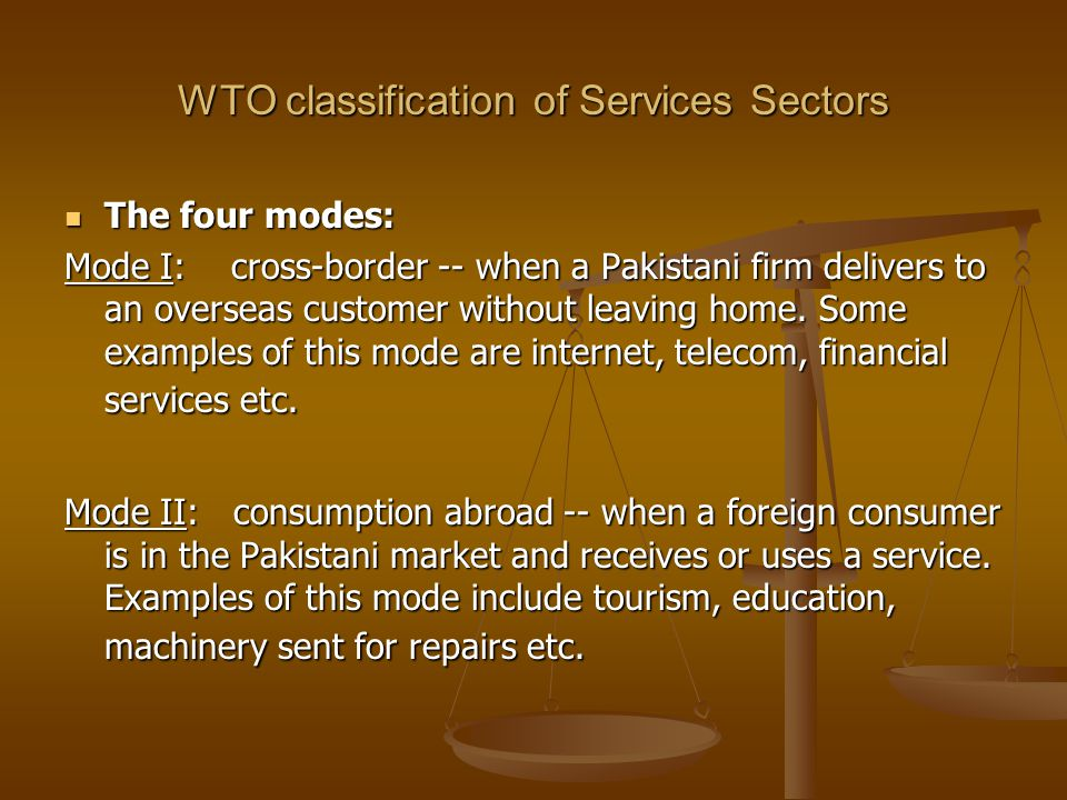 WTO classification of Services Sectors