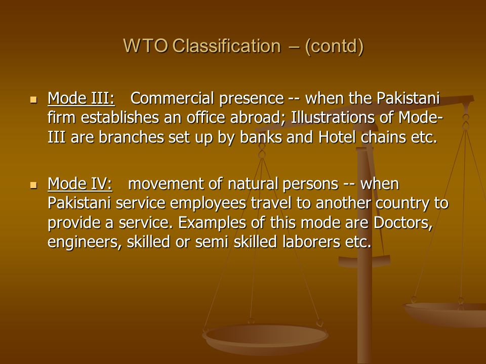 WTO Classification – (contd)