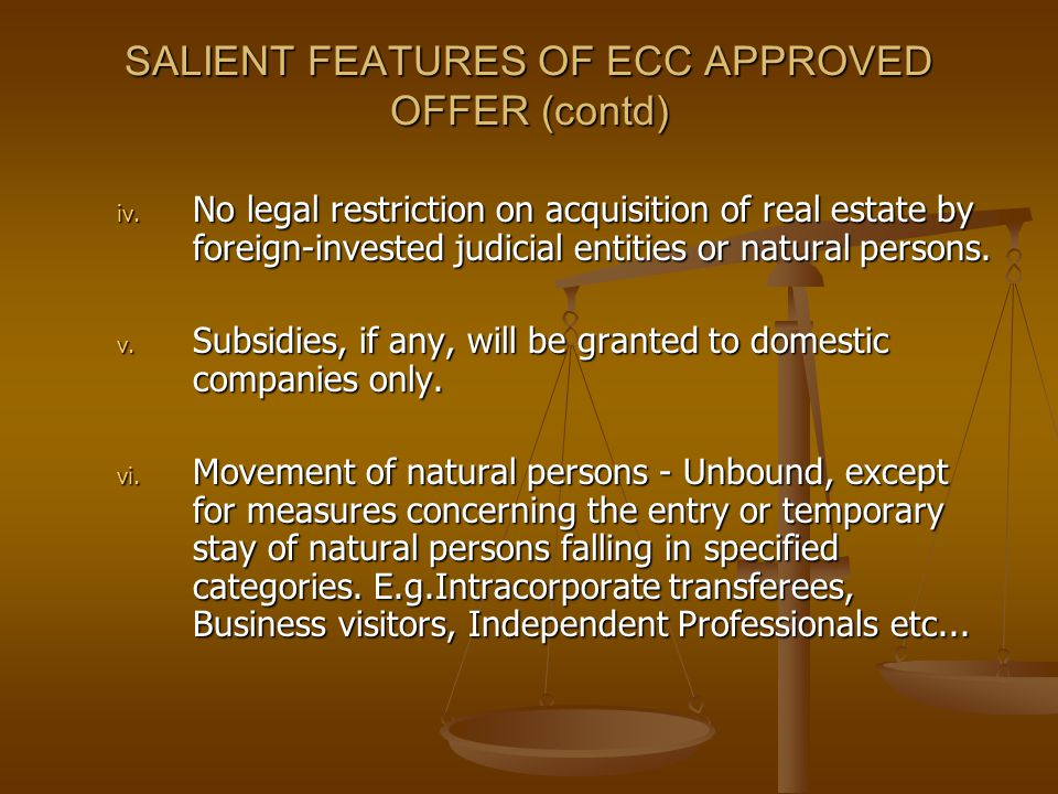 SALIENT FEATURES OF ECC APPROVED OFFER (contd)