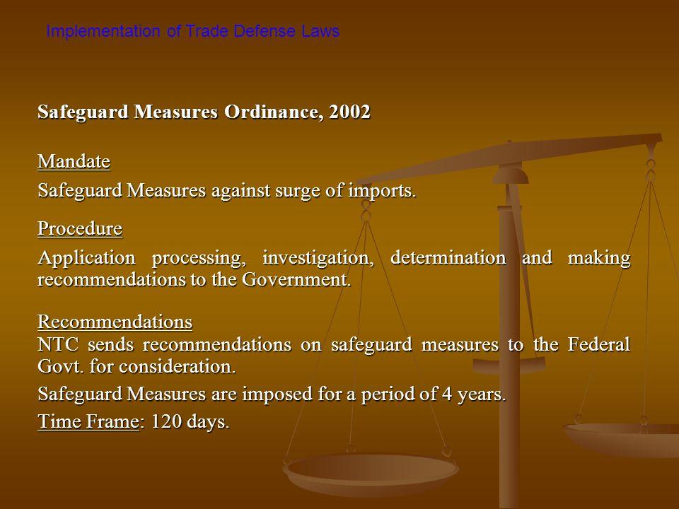 Safeguard Measures Ordinance, 2002 Mandate
