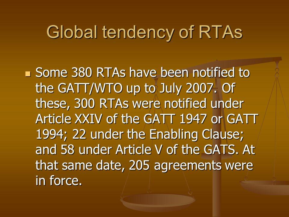 Global tendency of RTAs