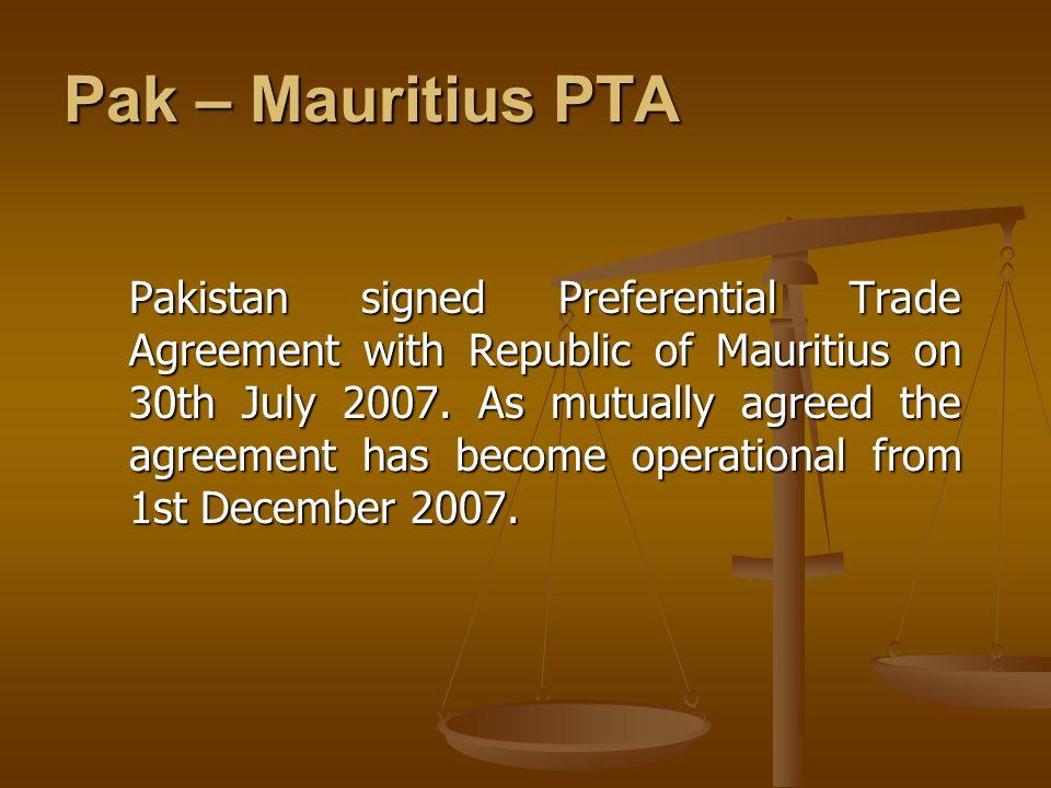 Pak – Mauritius PTA
