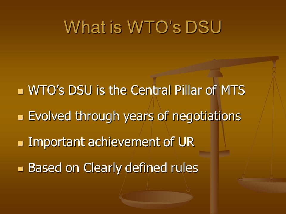 What is WTO's DSU WTO's DSU is the Central Pillar of MTS