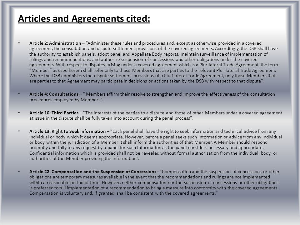 Articles and Agreements cited:
