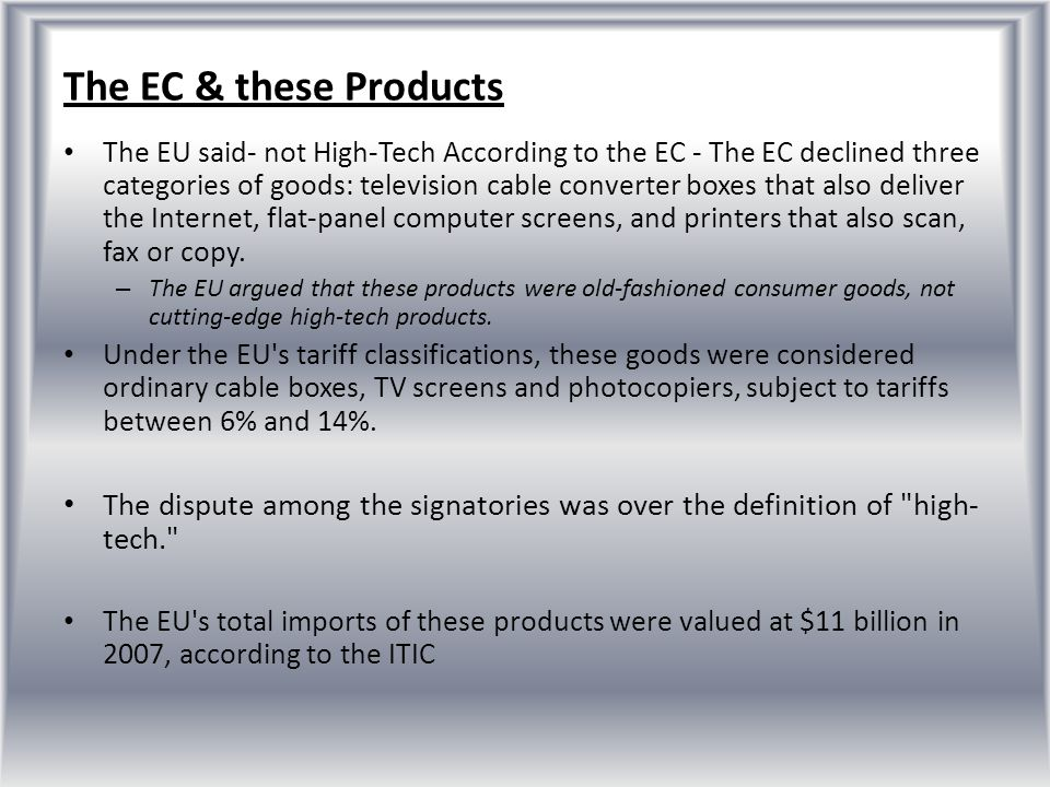 The EC & these Products