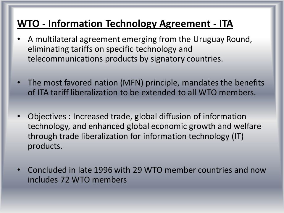 WTO - Information Technology Agreement - ITA