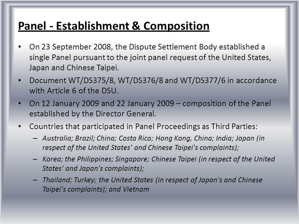Panel - Establishment & Composition