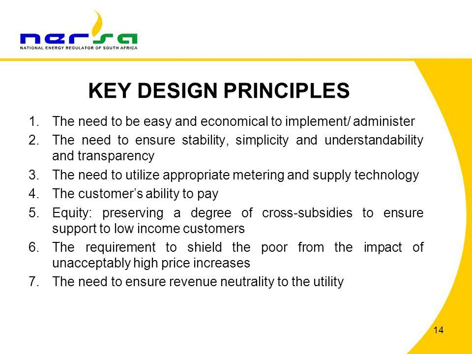 KEY DESIGN PRINCIPLES The need to be easy and economical to implement/ administer.