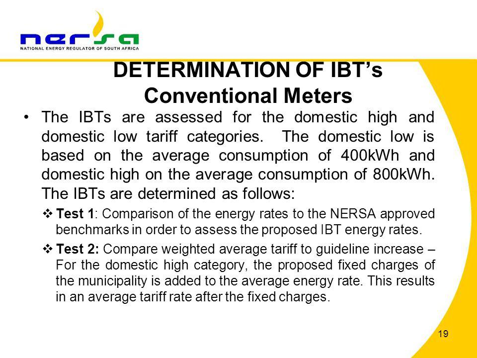 DETERMINATION OF IBT's Conventional Meters