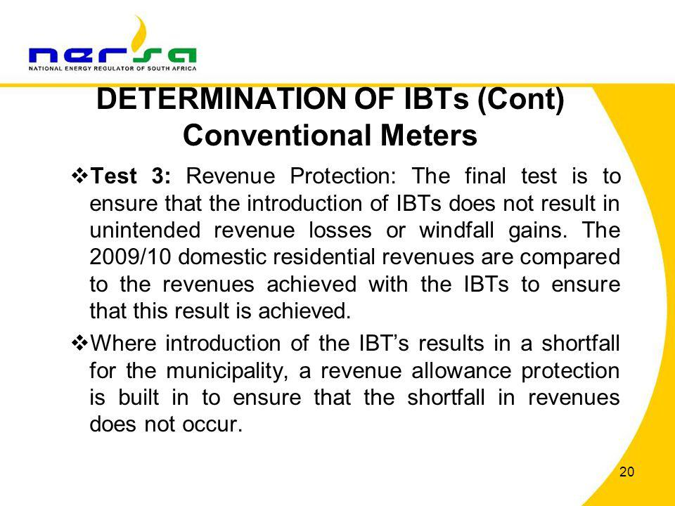 DETERMINATION OF IBTs (Cont) Conventional Meters