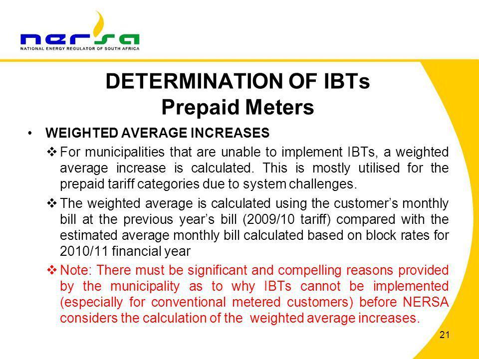 DETERMINATION OF IBTs Prepaid Meters