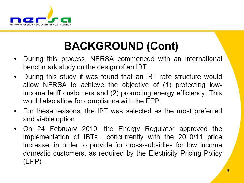 BACKGROUND (Cont) During this process, NERSA commenced with an international benchmark study on the design of an IBT.
