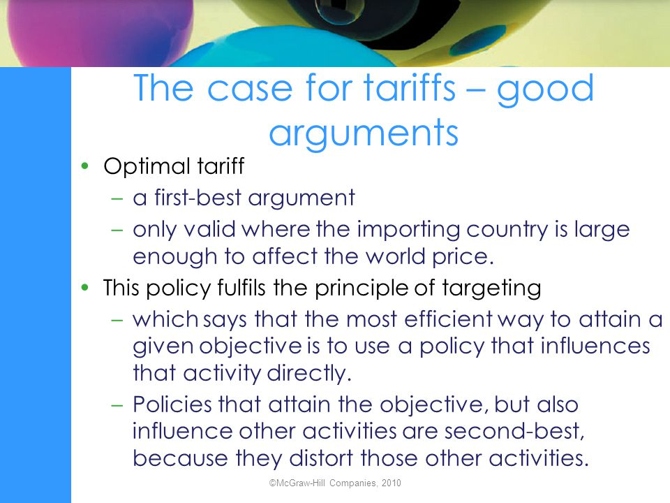 The case for tariffs – good arguments