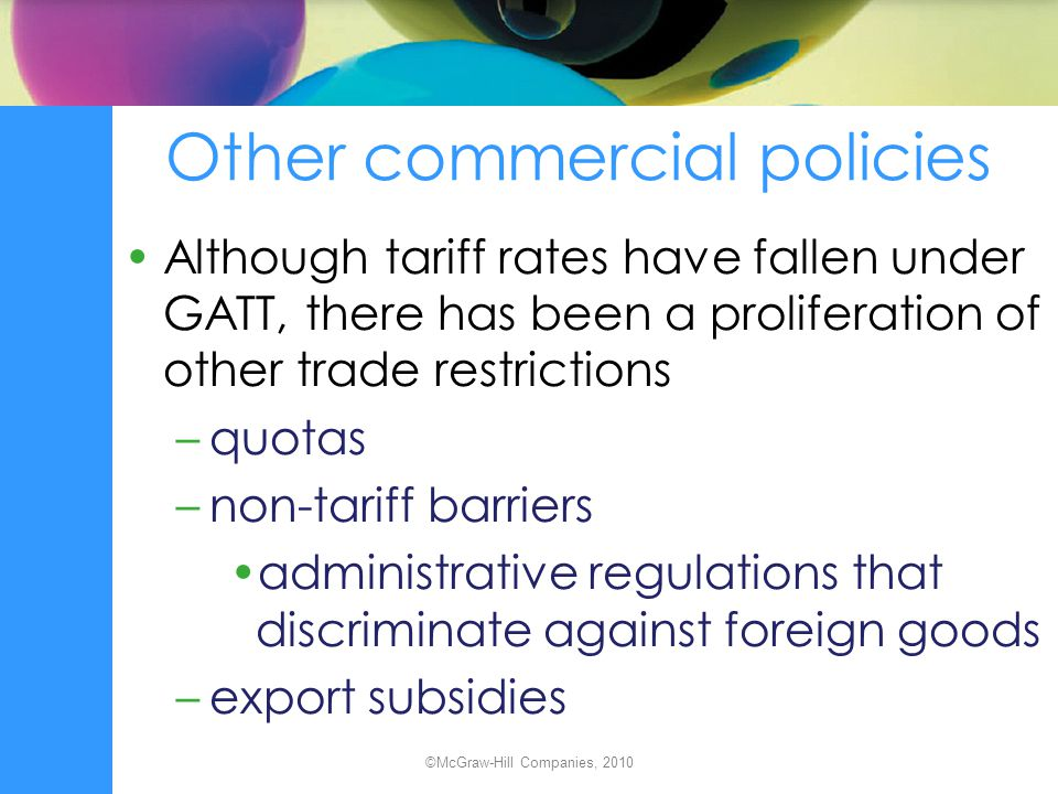 Other commercial policies