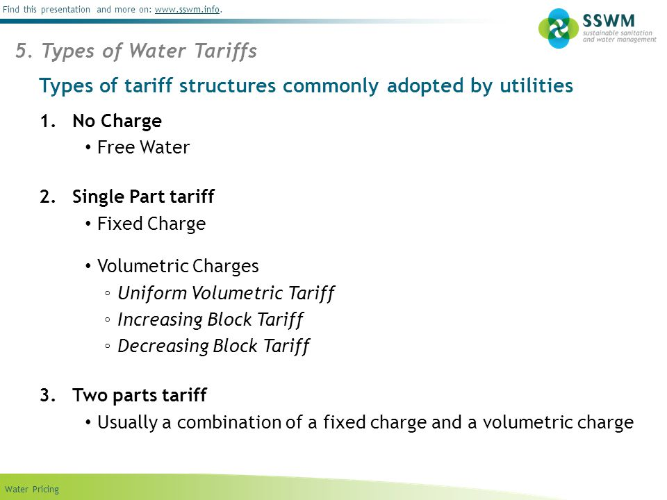 Types of tariff structures commonly adopted by utilities