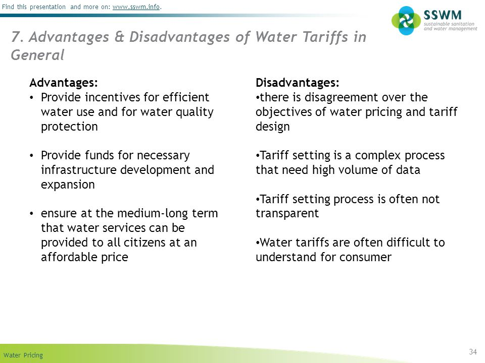 7. Advantages & Disadvantages of Water Tariffs in General