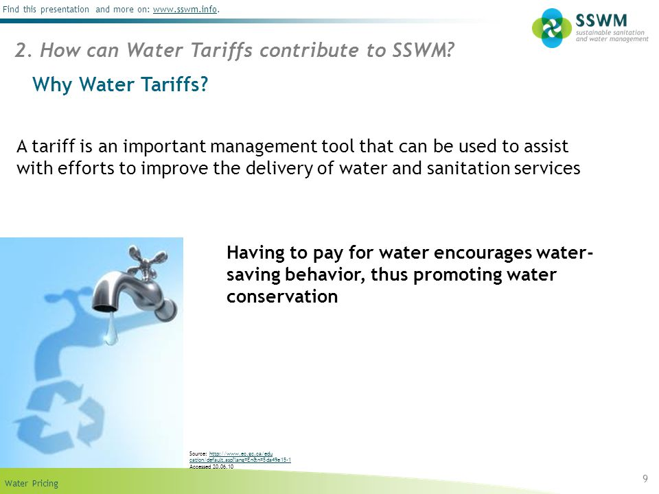 2. How can Water Tariffs contribute to SSWM