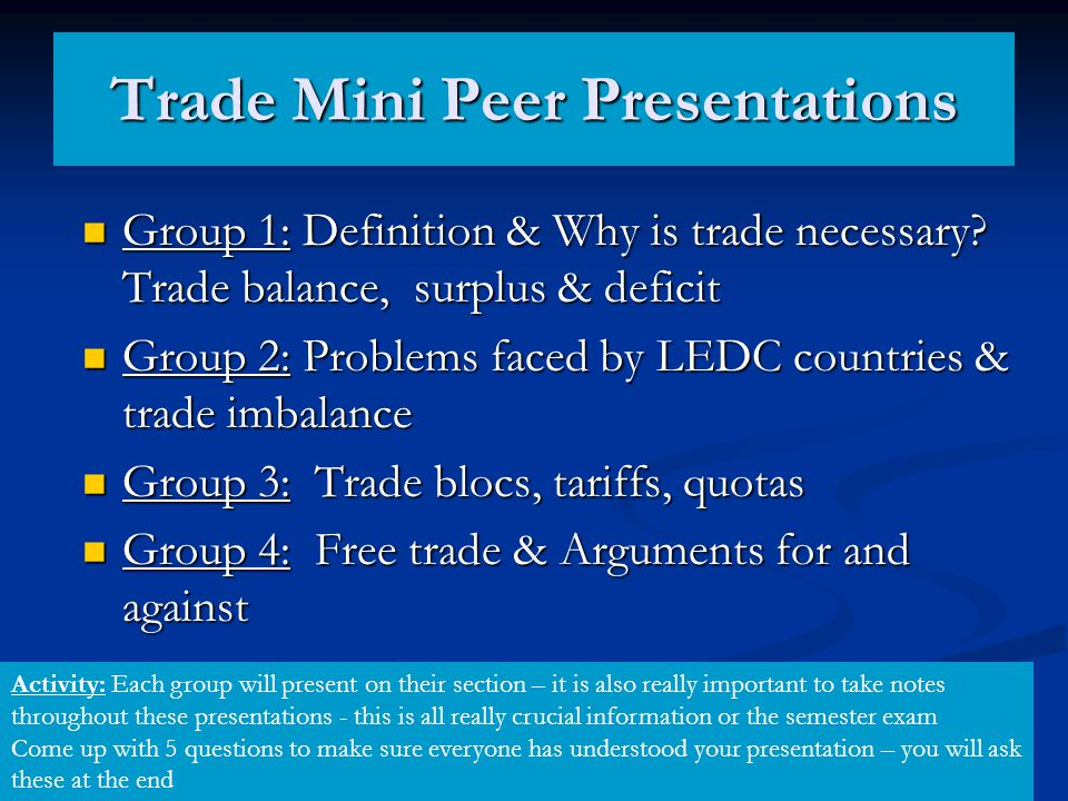 Trade Mini Peer Presentations
