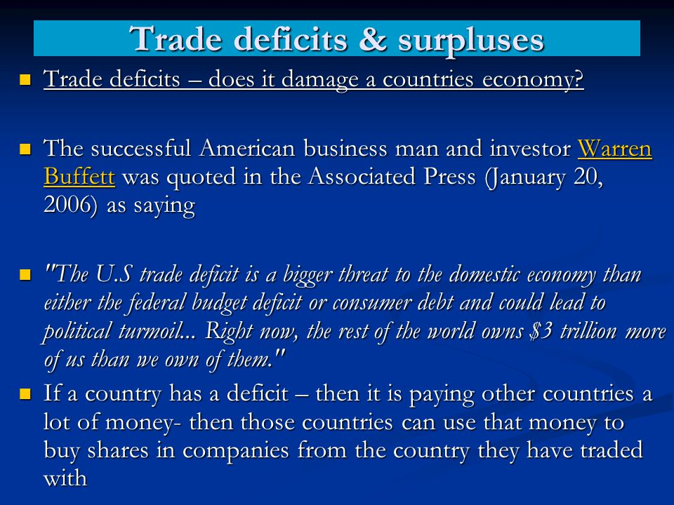 Trade deficits & surpluses