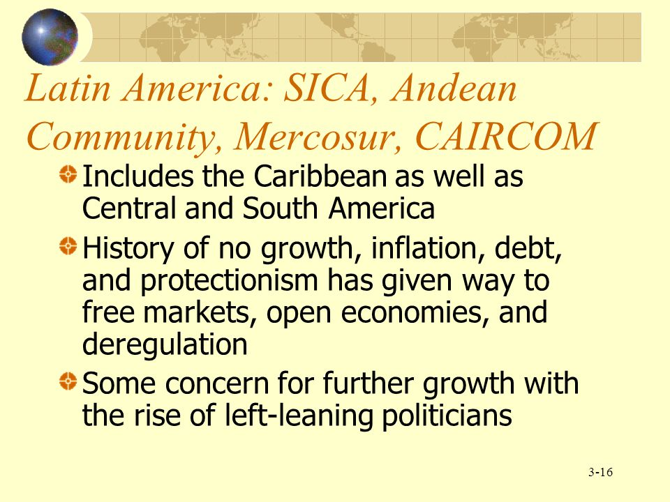Latin America: SICA, Andean Community, Mercosur, CAIRCOM