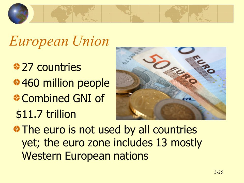 European Union 27 countries 460 million people Combined GNI of