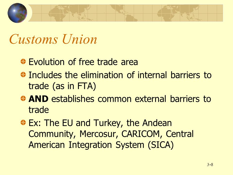 Customs Union Evolution of free trade area