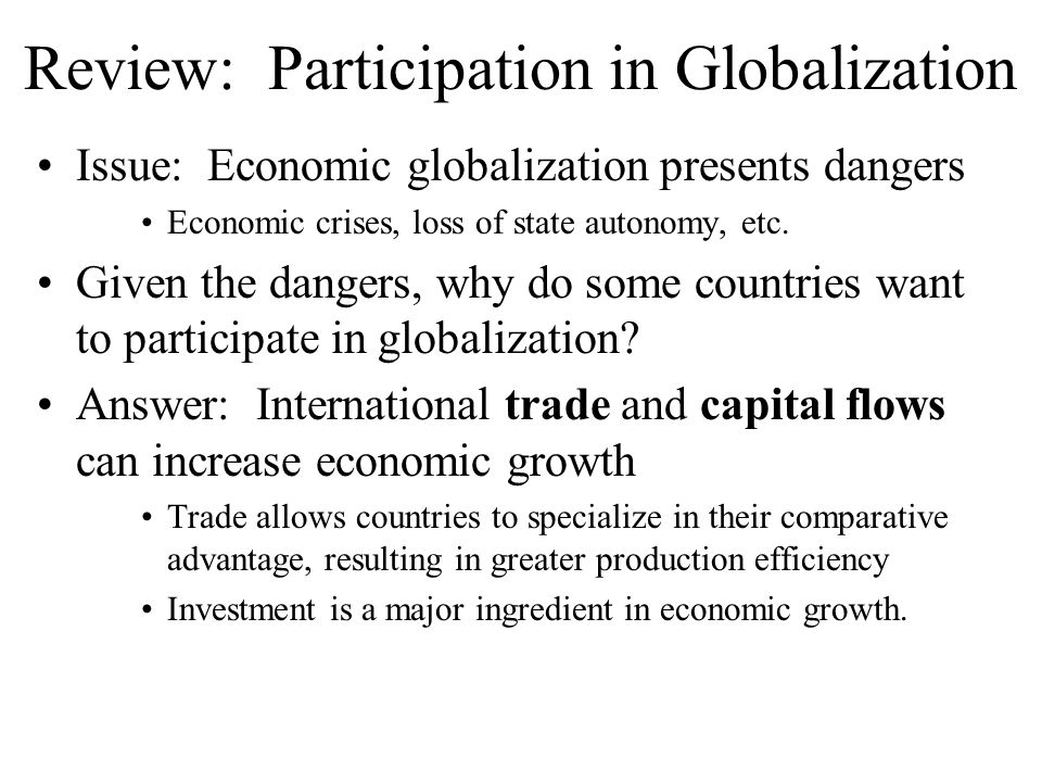 Review: Participation in Globalization