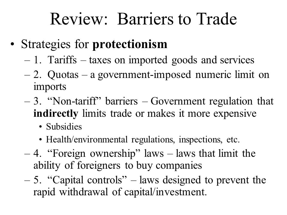 Review: Barriers to Trade