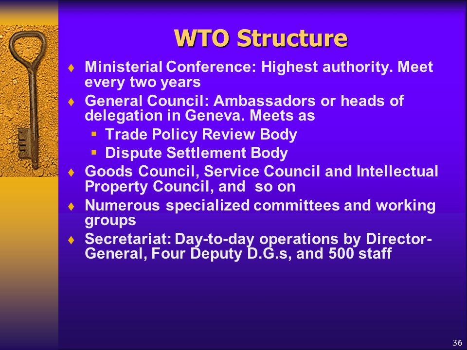 WTO Structure Ministerial Conference: Highest authority. Meet every two years.