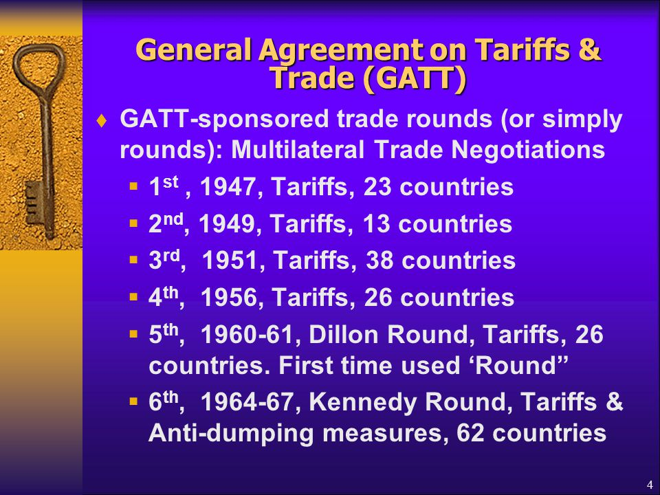 General Agreement on Tariffs & Trade (GATT)