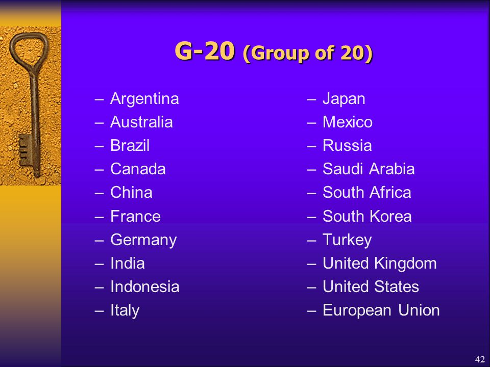 G-20 (Group of 20) Argentina Australia Brazil Canada China France