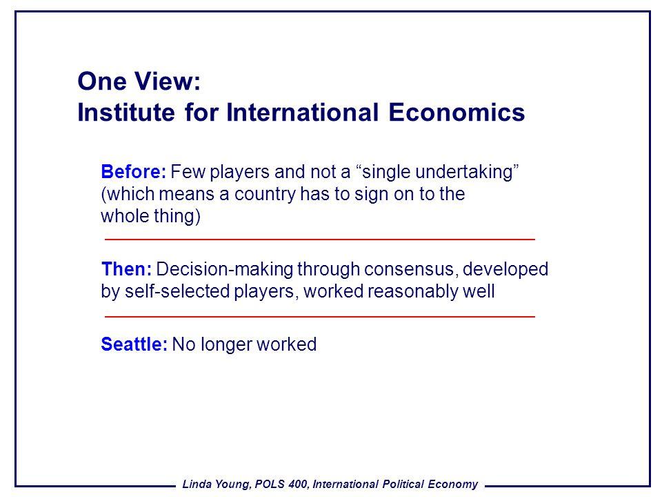 One View: Institute for International Economics