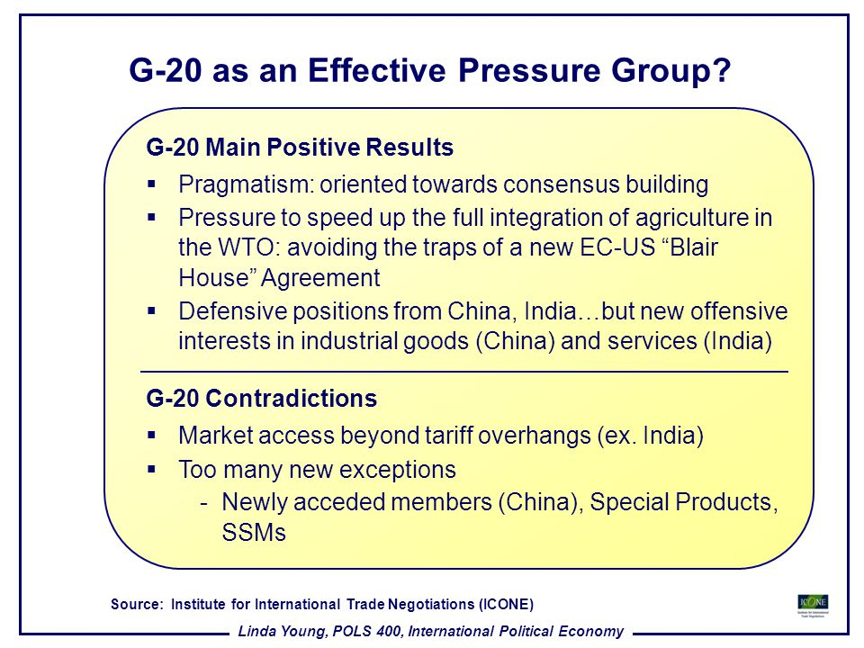 G-20 as an Effective Pressure Group