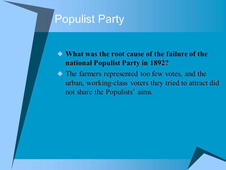 Populist Party What was the root cause of the failure of the national Populist Party in 1892