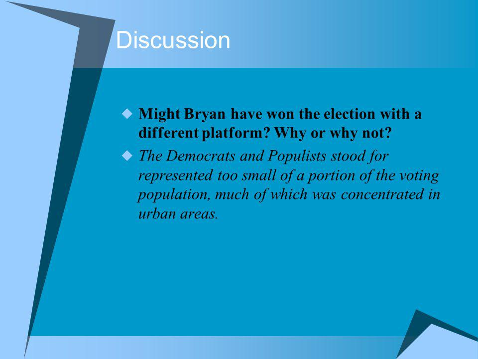 Discussion Might Bryan have won the election with a different platform Why or why not