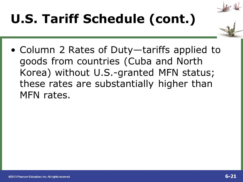 U.S. Tariff Schedule (cont.)