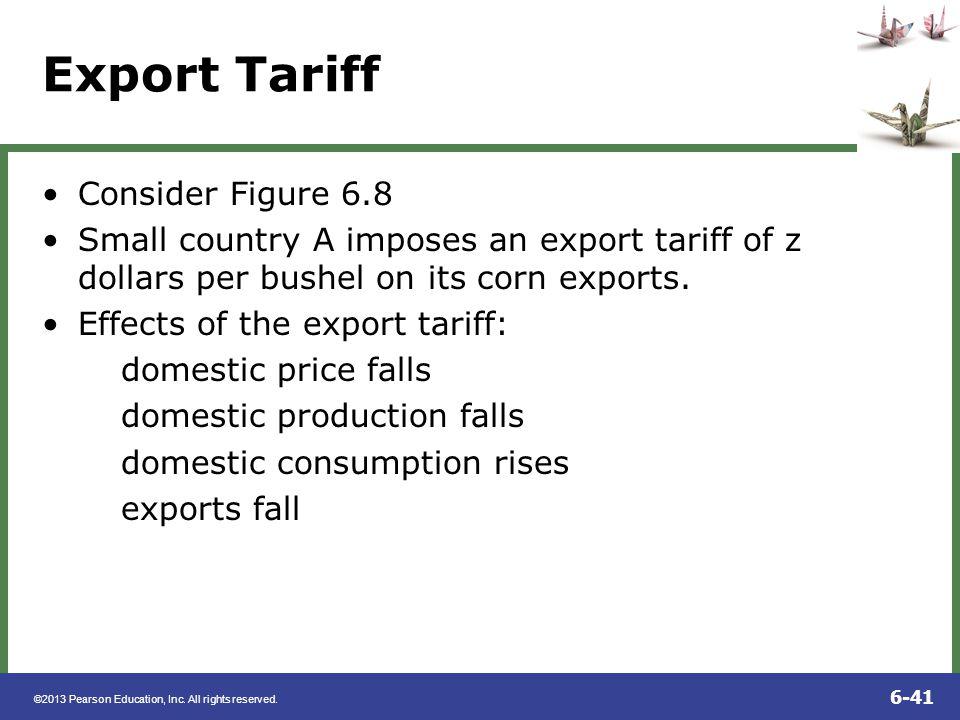 Export Tariff Consider Figure 6.8