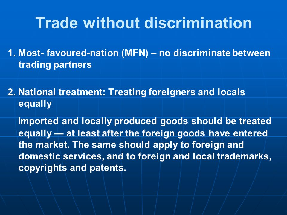 Trade without discrimination