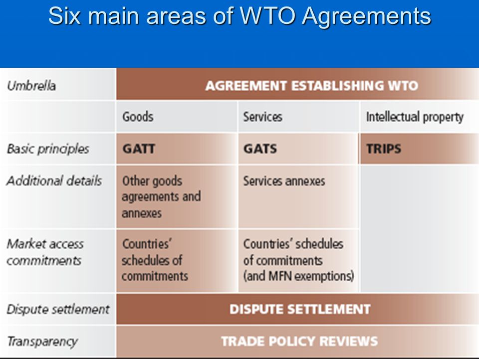 Six main areas of WTO Agreements