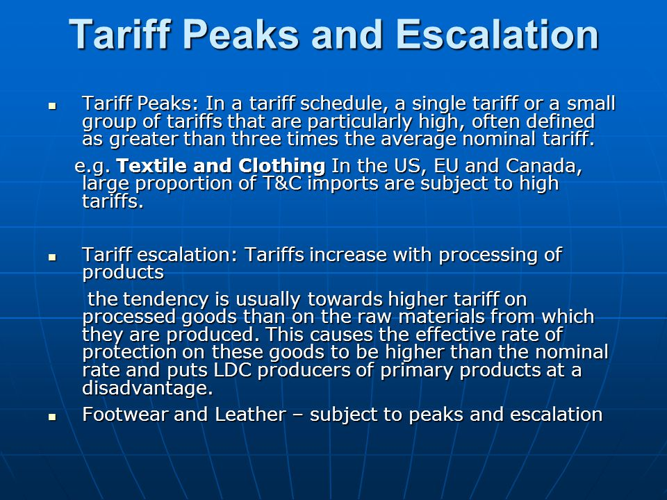 Tariff Peaks and Escalation