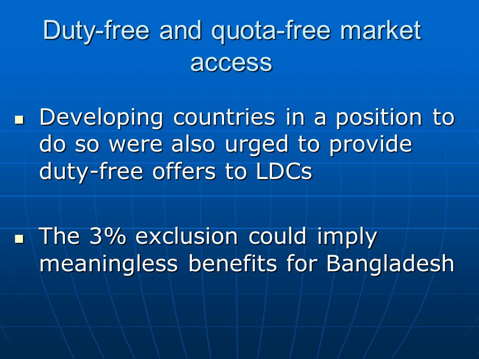 Duty-free and quota-free market access
