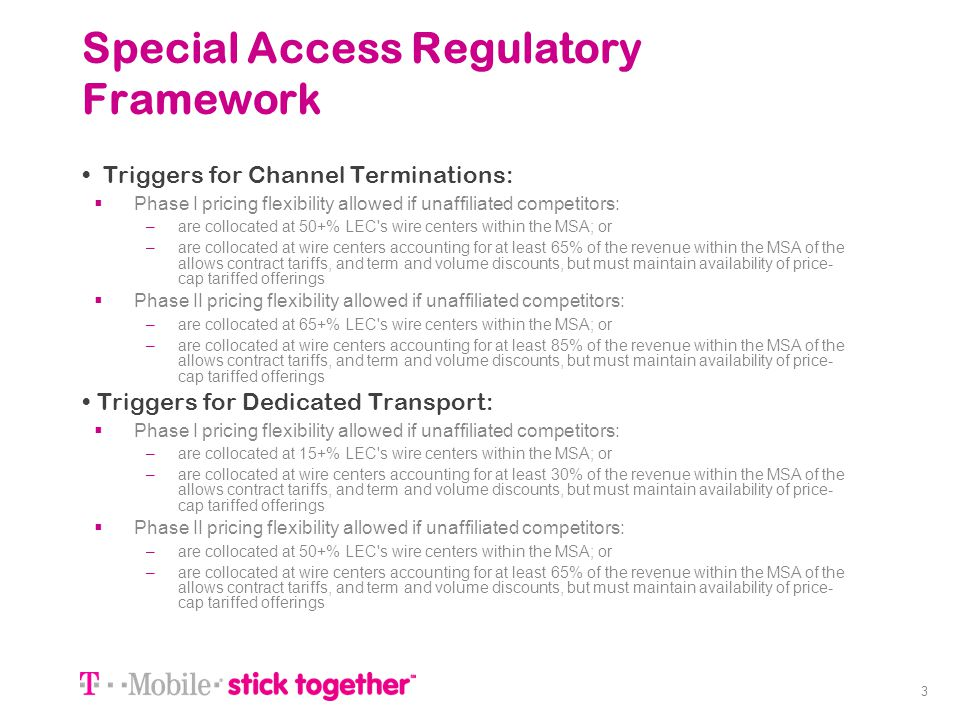 Special Access Regulatory Framework