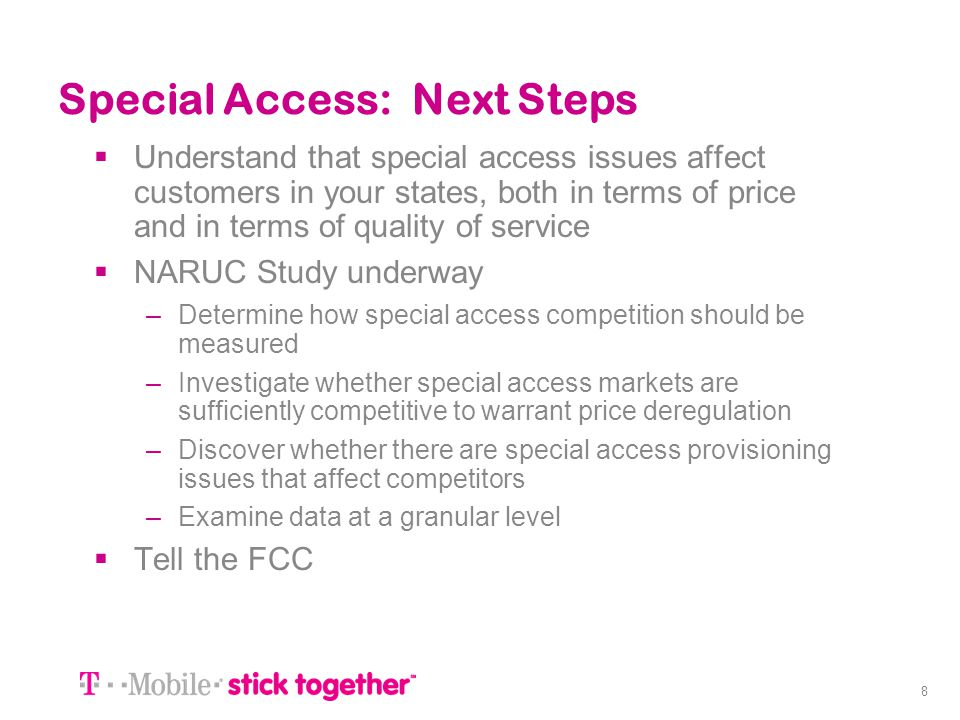 Special Access: Next Steps