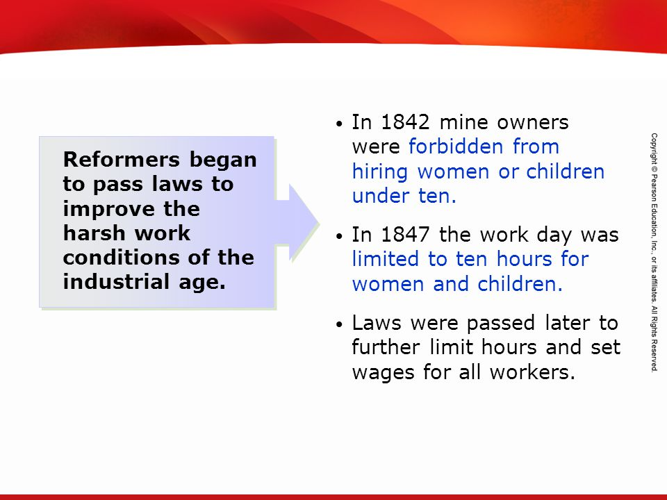 In 1842 mine owners were forbidden from hiring women or children under ten.