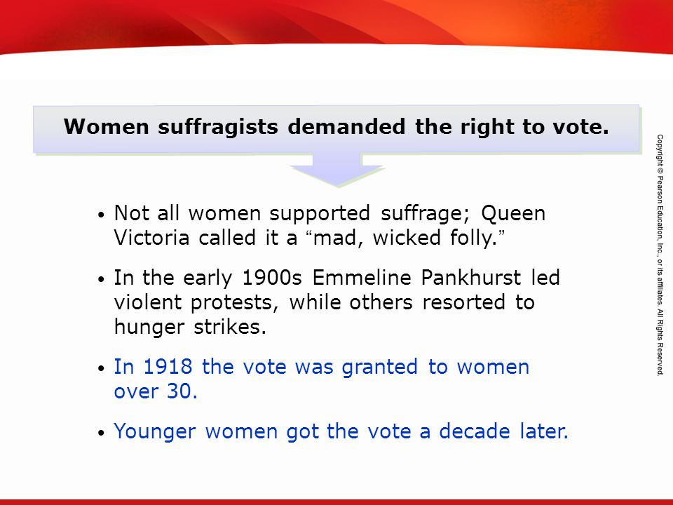 Women suffragists demanded the right to vote.