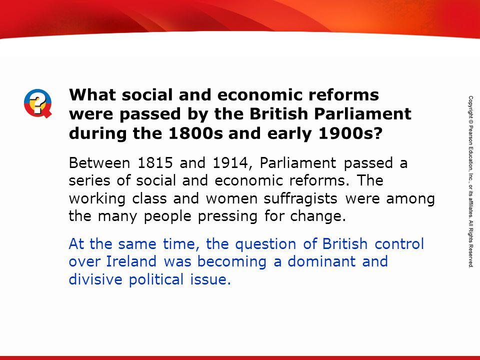 What social and economic reforms were passed by the British Parliament during the 1800s and early 1900s