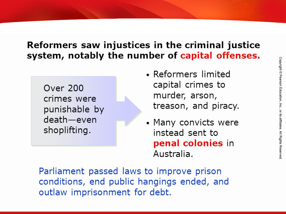 Reformers saw injustices in the criminal justice system, notably the number of capital offenses.