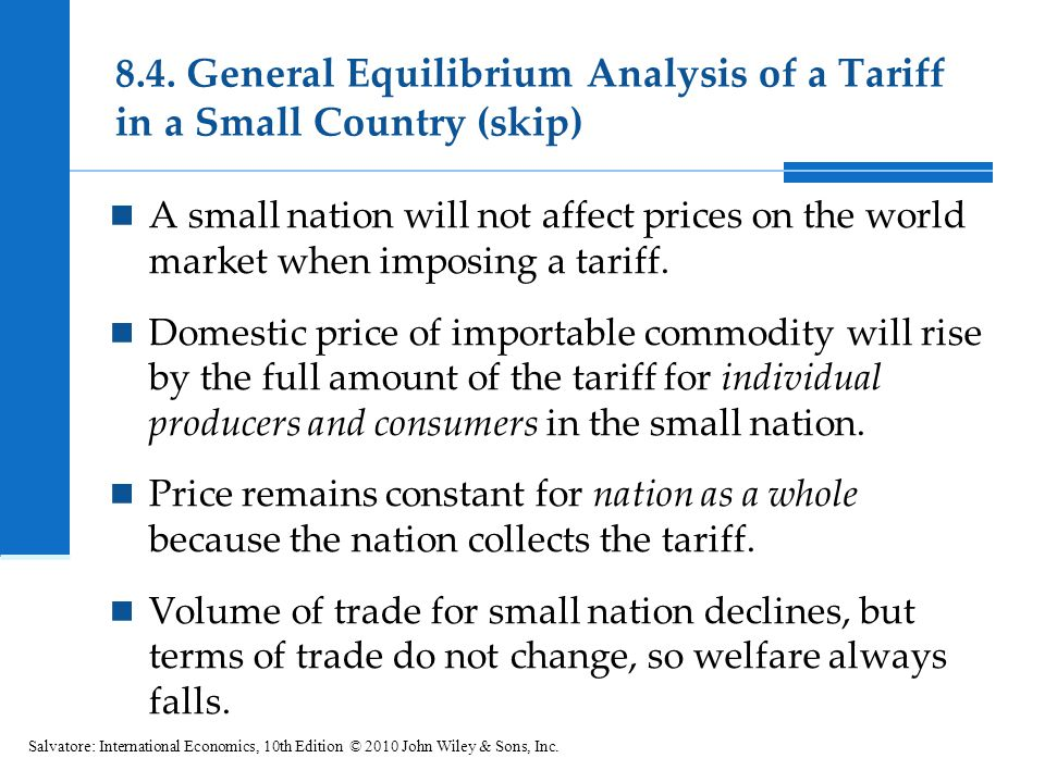 8.4. General Equilibrium Analysis of a Tariff in a Small Country (skip)